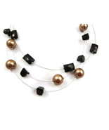 Necklace Black & Gold Faux Pearls Silver Tn 20