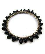 Bracelet Bangle Black Beads Gold Tone NEW Delic... - $20.00