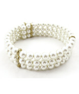 Beaded Bracelet Layered White Faux Pearl Gold N... - $20.00