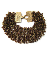 Bracelet Chain Gold Tone Dark Amber Frosted Bea... - $20.00