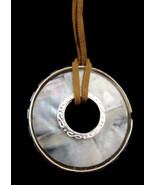 Necklace Mother of Pearl Abalone Large Round Pe... - $20.00