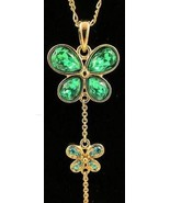Modern Fashion Jewelry Necklace Gold Tone Green... - $20.00