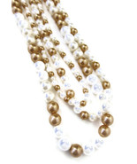 Necklace Faux Pearls White Gold Layered 18