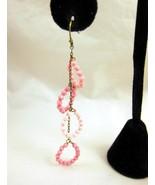 Earrings Purple Beads Hoops Chain Dangle Long N... - $20.00
