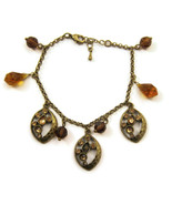 Charm Bracelet Chain Brass Gold Tn Amber Rhines... - $20.00