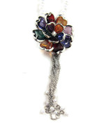 Necklace Rainbow Flower White Faux Pearls Silve... - $20.00