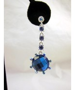 Earrings Pierced Light & Bright Blue Rhinestone... - $20.00