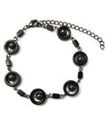 Bracelet Chain Black & Dark Silver Round Circle... - $20.00