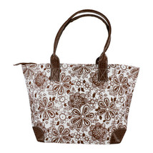 Brown and White Floral Print Zippered Tote Hand... - $6.99