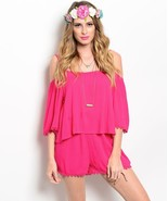 Foxy Fuchsia Pink Off-Shoulder Boho Lace Trim S... - $24.99