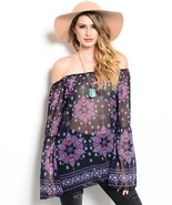 Romantic Navy and Pink Floral Print Off Shoulde... - $19.99
