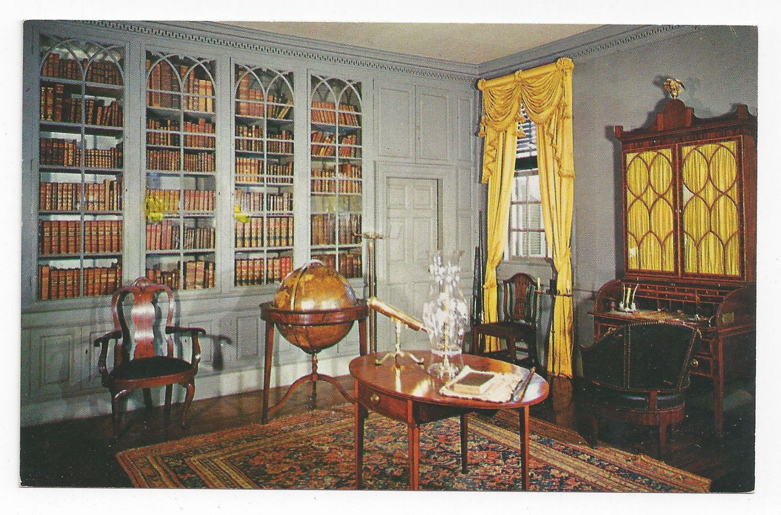 Va mount vernon interior the library george washington vintage