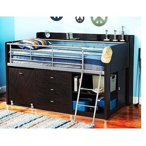 Twin Loft Bed Desk Combo Bedroom Set Furniture Kids Teen Home Sturdy ...
