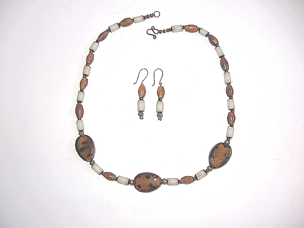 Handcrafted Lampwork Bead Horn Necklace Set Brown Earth Tone