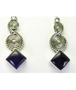 Purple Amethyst Diamond shape Cabochon Dangle S... - $66.24