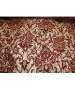 Crimson Damask Chenille Upholstery Drapery fabr... - $12.95