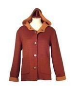 Hooded Jacket,pure Alpaca wool, elegant Outerwear - £210.15 GBP