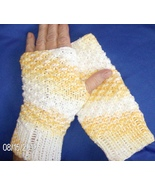 hand knitted fingerless gloves in yellow cotton - $15.00