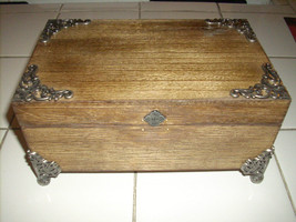 HAND MADE STAINED WOOD WITH METAL TRIM & LEGS S... - $30.00