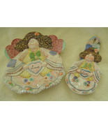 Country Angels, Porcelain, Plate/Spoon Rest Set... - $20.00