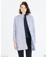 NWT Zara Sky Blue Wool Coat Jacket size S small - $142.00