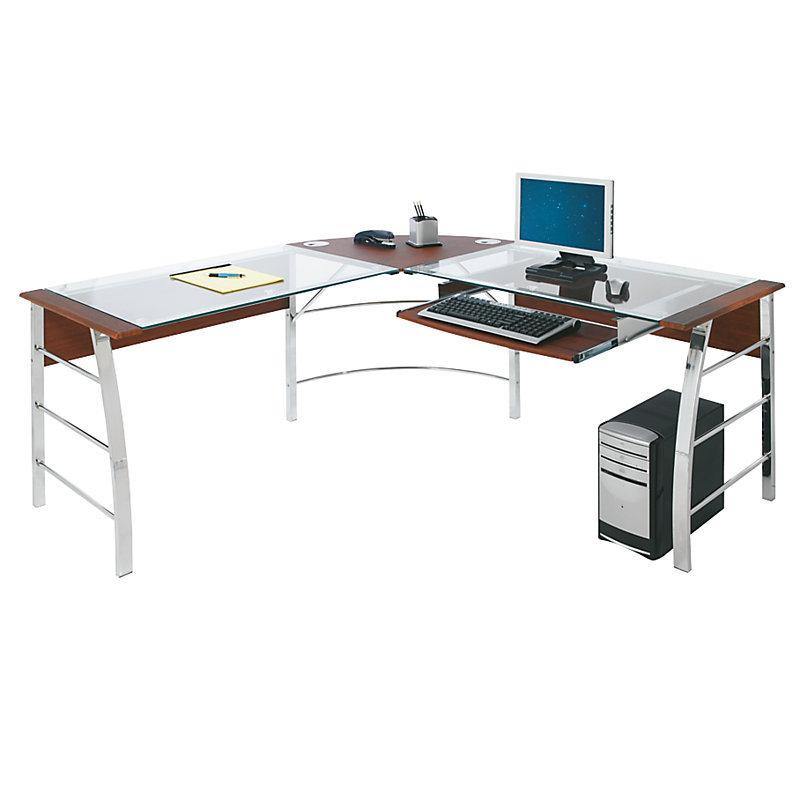 realspace mezza l shaped glass computer desk cherry chrome 620475 desks tables. Black Bedroom Furniture Sets. Home Design Ideas