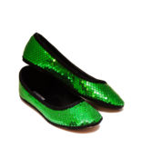 Sequin Kelly Green and Black Ballet Slippers Dr... - $39.99