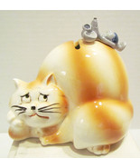 CAT W/ MOUSE ON HIS BACK 1980's CERAMIC COIN BA... - $24.99