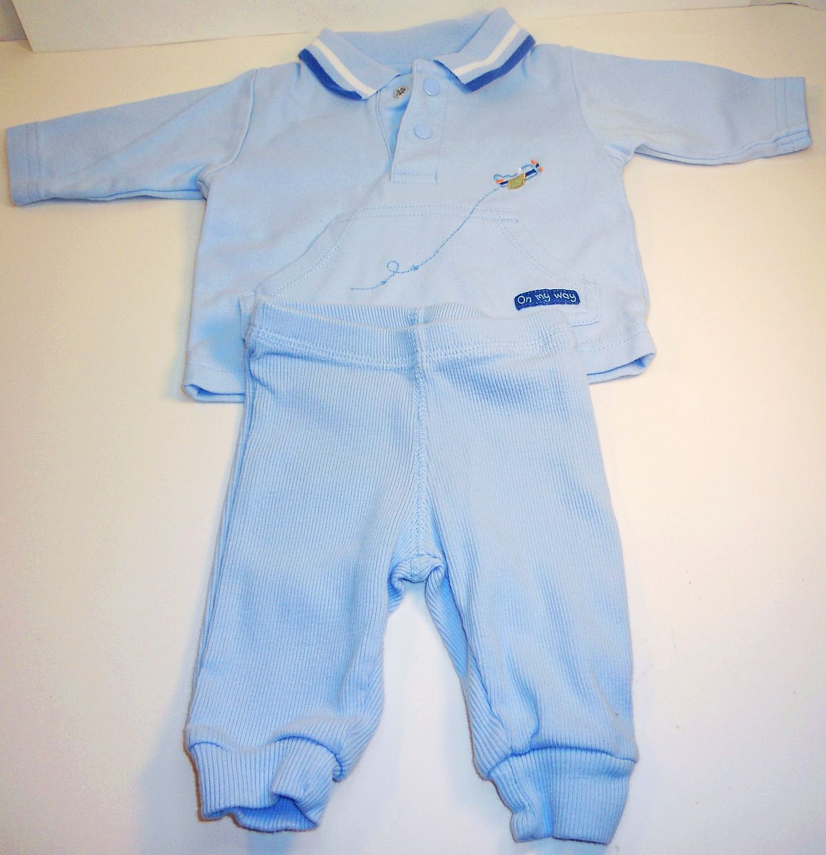 Carter's Child of Mine blue boys shirt pant sweatsuit New Born