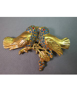 Antique Bird Brooch Base Metal Gold Plated Blue... - $29.69