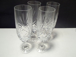 4 ELEGANT CRYSTAL CUT FLUTES WITH FROSTED TIPS~... - $14.95