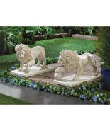 Outdoor Lion Statues with Paw on Orb Ball - $90.00