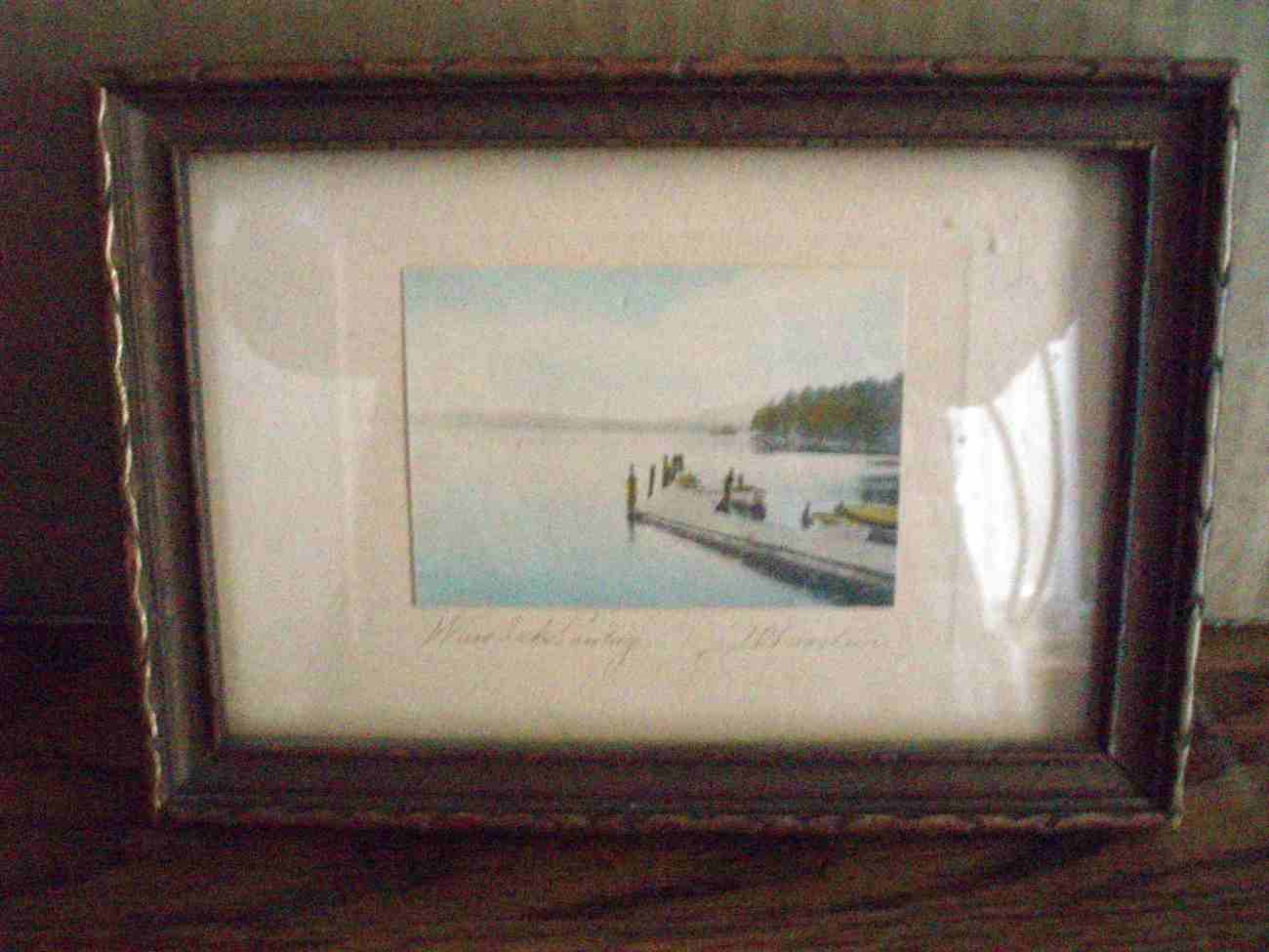 David Davidson hand tinted photo Weirs Beach Landing Vintage