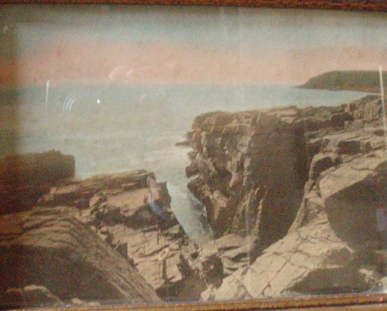 J C Bicknell hand tint photo Acadia Thunder Hole ME VTG