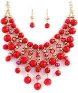 Sparkling red bib fashion statement necklace ea... - $20.78