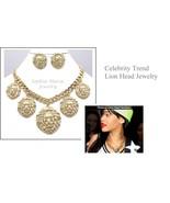 Lion head necklace set gold tone statement jewe... - $29.69