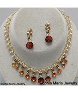 Brown topaz dangle crystal necklace set gold to... - $22.77