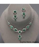Emerald Green Bridesmaids Rhinestone Necklace s... - $19.79