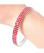 Red Crystal Bangle Bracelet Sparkling Perfect f... - $12.86