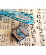 Scrabble Tile Necklace Hand Made Turquoise Butt... - $20.00