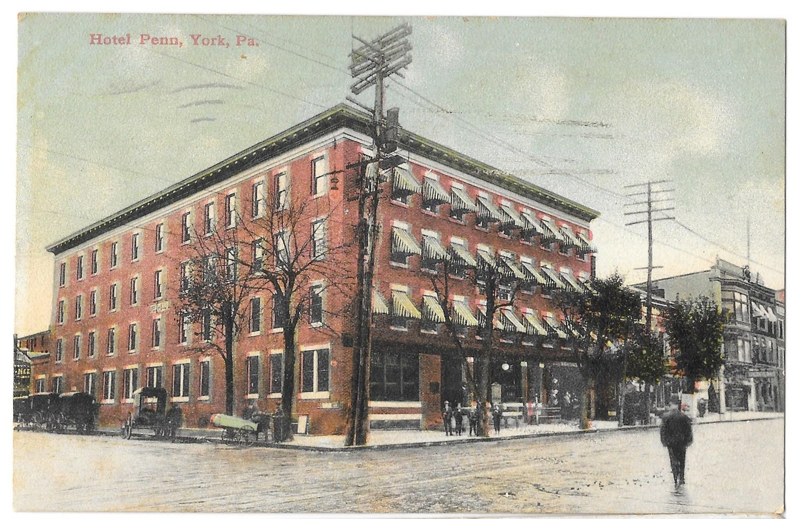 York pa hotel penn telephone poles vintage postcard 1910 for Outdoor furniture york pa