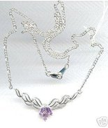 Sterling Silver Genuine Amethyst Clear CZ Necklace - $69.99