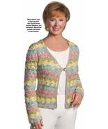 X687 Crochet PATTERN ONLY Floral Stripe Jacket ... - $8.45