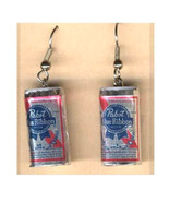 Funky PABST BEER CANS EARRINGS Sports Bar Drink... - $7.93