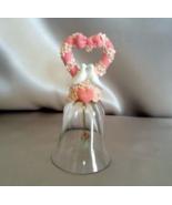 Vintage Crystal Bell 24% Lead Crystal Pink Hear... - $14.99