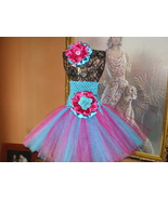 BABY GIRL TURQUOISE & HOT PINK TUTU DRESS WITH ... - $22.00