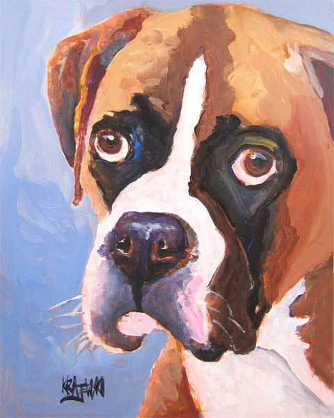 Boxer Art Print Dog 11x14 Signed by Artist Painting