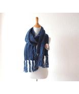 Naxy blue knit scarf ~ German scarf ~ Navy wint... - $35.00