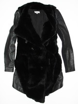 P XS HELMUT LANG Black Rabbit Fur & Goat Leathe... - $563.50