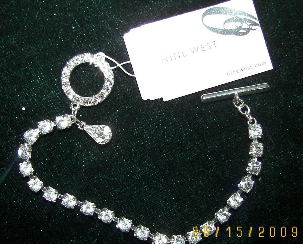 Nine West Rhinestone Silver Toggle Bracelet Wedding Mother of the Bride